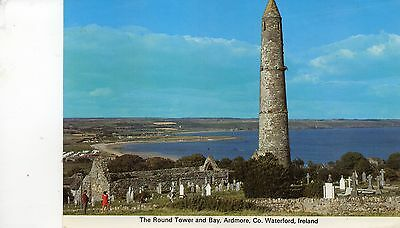 postcard Ireland  The round tower and Bay Ardmore Co Waterford  posted
