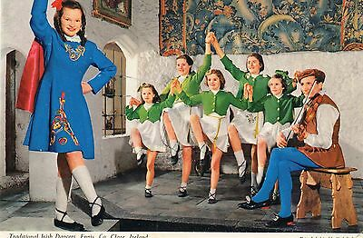 postcard Ireland traditional Irish Dancers Ennis Co Clare posted  Hinde