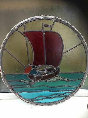 porthole style 1930s , stained glass.