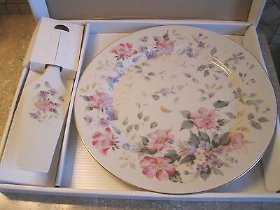 Andrea by Sadek PINK FLOWERS 10.75  Cake Plate and Server New in Box
