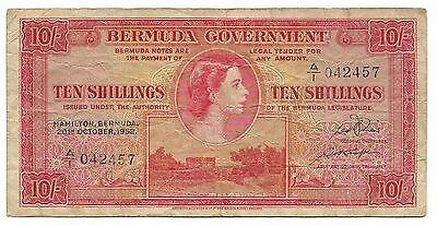 British Bermuda 10 Shillings 1952 P19a  gF Rare Queen Elizabeth Paper Money Free