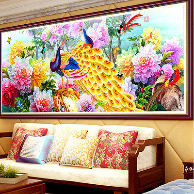 DIY 5D Diamond Embroidery Peacock Peony Painting Cross Stitch Craft Home Decor