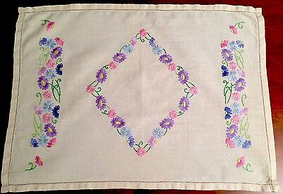 Vintage Hand Embroidered Natural Linen Table Centre / Tray Cloth 20X15 Inches
