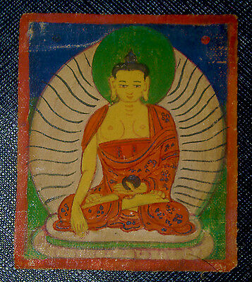 Vintage Antique Early 1900' Old Tibetan Thangka  From Lhasa Hand Painted