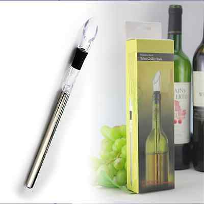 Wine Stainless Steel Chiller Chill Stick Ice Cold Pourer Spout Bottle Freeze V