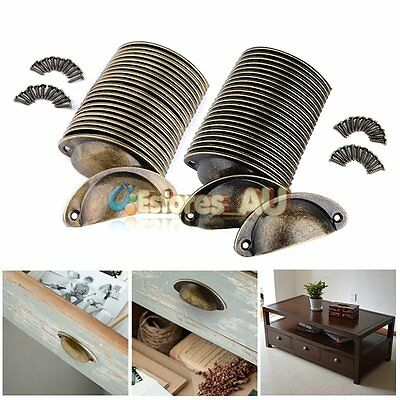 【AU】24x Retro Vintage Cupboard Handle Shell Cupped Cup Pull Chest Drawer Handles
