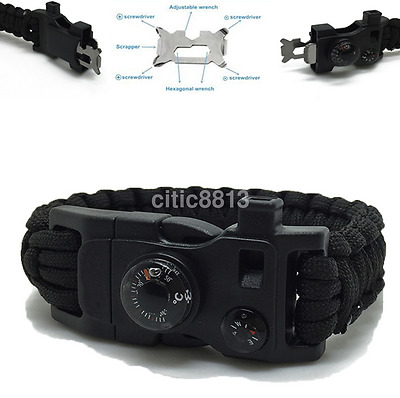 15in1 Survival Paracord Braclet Flint Fire Starter Whistle Thermometer Gear AU^