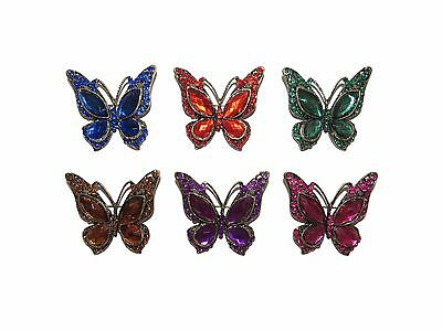 Stunning Antique Gilt & Coloured Stone Butterfly Brooch Pink Purple Etc Vintage