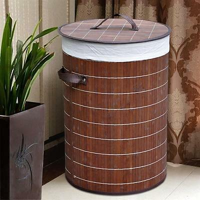 Large Folding Bamboo Laundry Basket Hamper Bin Lidded Storage Clothes Bag UK