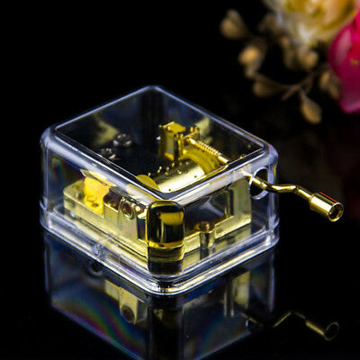 15 Songs! Acrylic Gurdy Gold Movement Hand Crank Music Box Lover Birthday Gift