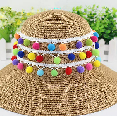 4 Yards colorful Pom Pom Lace Trim White DIY Sewing Tassels Lace Accessories