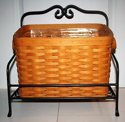 Longaberger Newspaper Basket/ Acrylic Divider  & Liner, In Wrought Iron Stand.