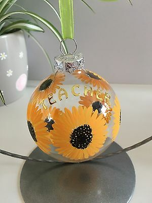Teacher gift, sunflower bauble with stand