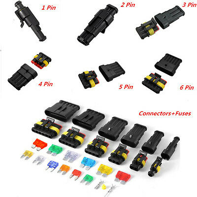 Car AUTO Blade Fuses 1-6 Pin Electrical Wire Connector Waterproof Plug Terminal