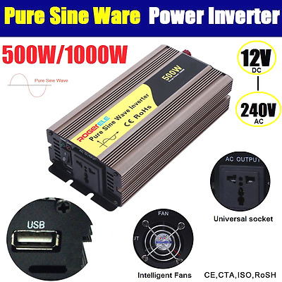 Pure Sine Wave 500W / 1200W (Peak) Watt Power Inverter 12V to 240V USB Charge