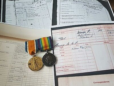 WW1 Pair Victory & British war Medal Pte Toy 1st Hampshire Regiment Fulham Man