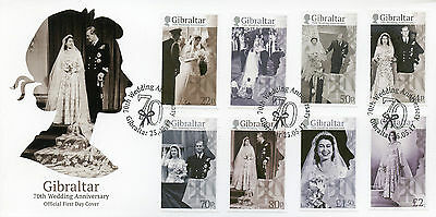 Gibraltar 2017 FDC Queen Elizabeth II 70th Wedding Anniv 8v Cover Royalty Stamps