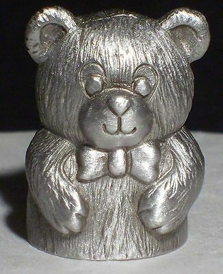 Thimble - Pewter CuteTeddy Bear Vintage RARE Spoontiques 1984