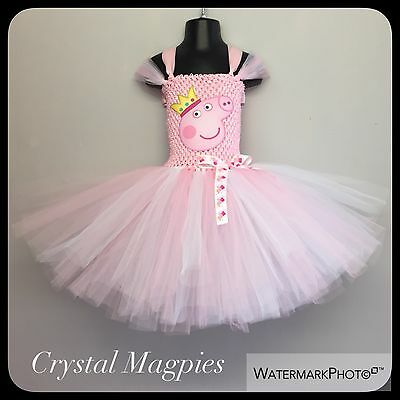 Peppa Pig  Inspired Tutu Party Christmas Dress In Baby Pink And White