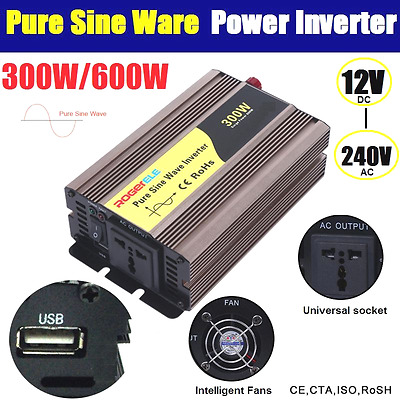 Pure Sine Wave 300W / 600W (Peak) Watt Power Inverter 12V to 240V USB Charge