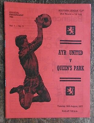 Ayr United V Queen's Park (League Cup) Football Programme 30-8-1977