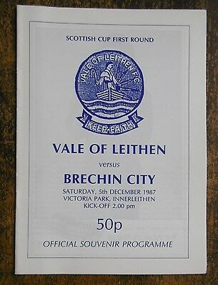 Vale Of Leithen V Brechin City (Scottish Cup) Football Programme 5-12-1987
