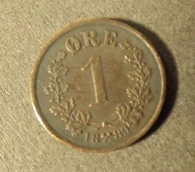 Norway 1 Ore Coin Dated 1889 Very Nice Coin