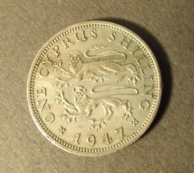 Cyprus 1 Shilling Coin Dated 1947
