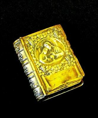 Vintage Edwardian Miniature Rosary In Repousse Brass Hinged Case