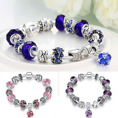 European Silver Plated Charms Bracelet Crystal Beads Bangle Jewelry Ladies Girls