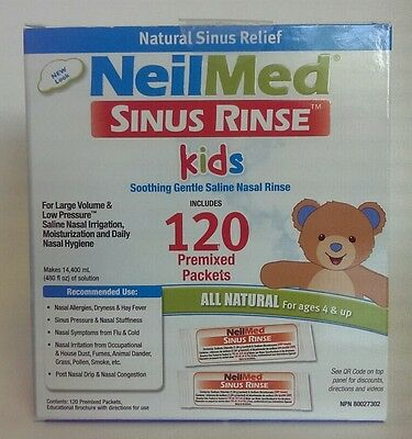 NeilMed Sinus Rinse Kids All Natural 120 Premixed Packets (Exp 05/18 NEW SEALED)