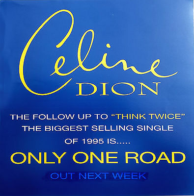 """CELINE DION Display Only One Road UK PROMO ONLY Rare 12"""" x 12"""" Poster"""