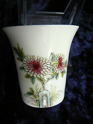 Chinese Egg Shell Porcelain Famille Rose Wine Cup
