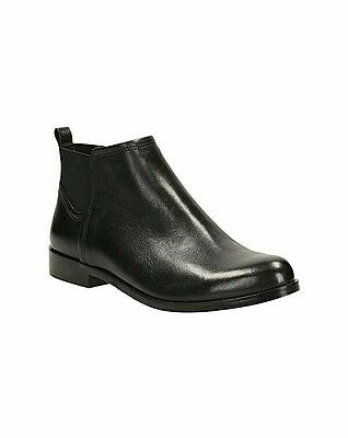 Clarks Ladies Bizzy Beat Black Leather Chelsea Ankle Boots Size 4/37