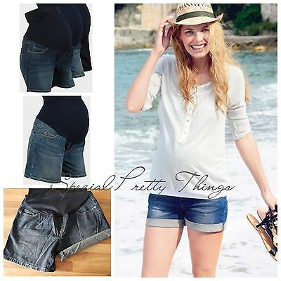 Maternity Denim Indigo Blue Over Bump Summer Holiday Pregnancy Shorts XS-XXL