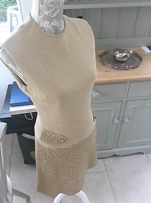 Fabulous Gold Beige Vintage Mod 60's Dress Size 10