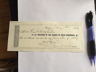 Vintage Ephemera Invoice Boston Massachusetts David Greenough 1881