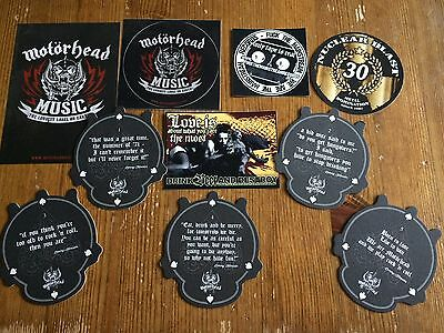 Road Crew Beer Mats Full Set Of 5 Lemmy Quotes Motorhead Music And More - New 3