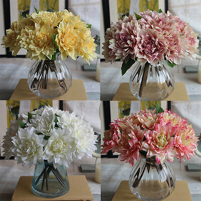 Simulation DIY Dahlia Bouquet Artificial Silk Flowers Wedding Home Decor