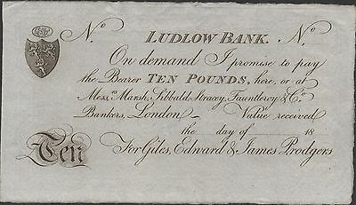 Great Britain /  Ludlow Bank / London , 10 Pounds 18XX , Uncirculated Banknote