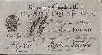 Great Britain Ringwood & Hampshire Bank  1 Pound  1.2.1821  Circulated Banknote