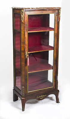 Antique French Rosewood Brass Inlaid Display Cabinet c.1880