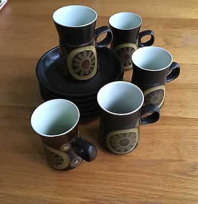 Denby Arabesque Brown Orange Cream Coffee Cups And Saucers X 6