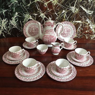 MYOTTS England COUNTRY LIFE - 21 -teiliges Kaffeeservice in rot / 6 Personen