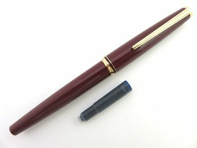 MONTBLANC Burgundy Red & 14K Gold 585 Fountain Pen with Cartridge [956]