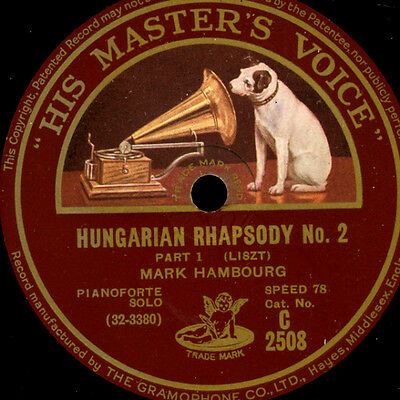 "MARK HAMBOURG -Piano-  ""Liszt""  Hungarian Rhapsody No.2   1&2    78rpm     G2442"