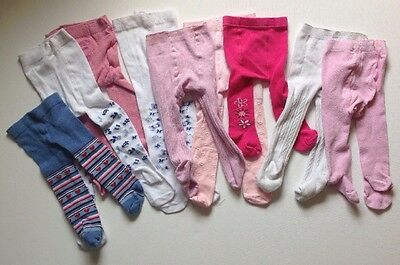 Baby Girls 0-3 Months And Upwards X9 Pairs Of Tights White Pink Floral Hearts