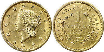 1851 $1 Type 1 Gold Dollar Almost Uncirculated