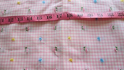 """Vtg. 50s Flocked Flowers Cotton Pink Gingham Fabric ~ 1 yard~ 36"""" wide"""