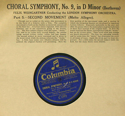 LONDON SYMPHONY ORCH. & WEINGARTNER Beethoven: Symphony No. 9 D-moll 78rpm  A270